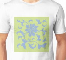 Oriental Flower - Serenity Blue and Daiquiri Green-Lime Unisex T-Shirt