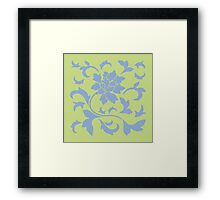Oriental Flower - Serenity Blue and Daiquiri Green-Lime Framed Print