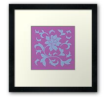 Oriental Flower - Serenity Blue and Radiant-Orchid Framed Print
