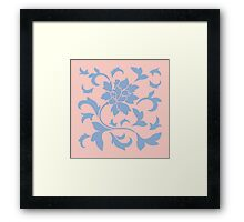 Oriental Flower - Serenity Blue and Rose Quartz Framed Print