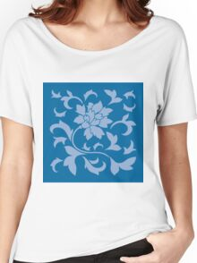 Oriental Flower - Serenity Blue and Snorkel Blue Women's Relaxed Fit T-Shirt