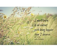 Jane Austen Content Photographic Print