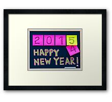 Happy New Year 2015 message hand written on blackboard Framed Print