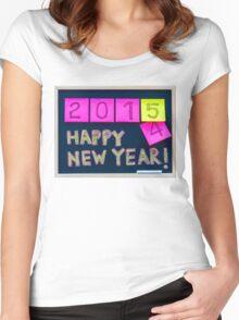 Happy New Year 2015 message hand written on blackboard Women's Fitted Scoop T-Shirt