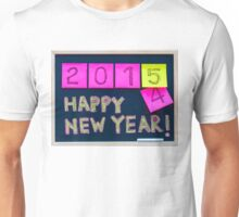 Happy New Year 2015 message hand written on blackboard Unisex T-Shirt