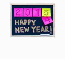 Happy New Year 2015 message hand written on blackboard Unisex T-Shirt