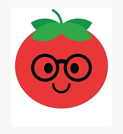 Tomato Emoji Noob Nerd Glasses Photographic Print