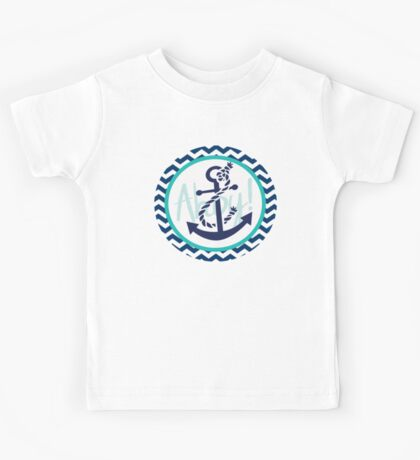 AHOY Anchor Nautical Design Navy Blue and White Chevron with Teal Green  Kids Tee