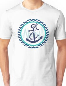 AHOY Anchor Nautical Design Navy Blue and White Chevron with Teal Green  Unisex T-Shirt