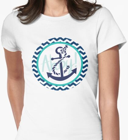 AHOY Anchor Nautical Design Navy Blue and White Chevron with Teal Green  Womens Fitted T-Shirt