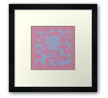 Oriental Flower - Serenity Blue and Strawberry Framed Print