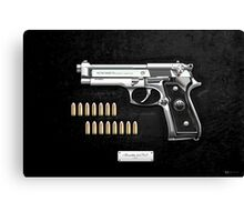 Beretta 92FS Inox over Black Velvet Canvas Print