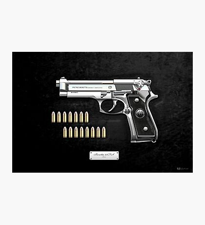 Beretta 92FS Inox over Black Velvet Photographic Print