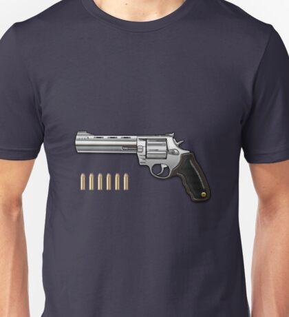 .44 Magnum Colt Anaconda with Ammo on Blue Velvet  Unisex T-Shirt
