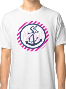 AHOY Anchor - Blue White Pink Stripes Nautical Design Classic T-Shirt