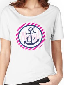 AHOY Anchor - Blue White Pink Stripes Nautical Design Women's Relaxed Fit T-Shirt