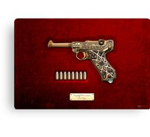 Krieghoff Presentation P.08 Luger with Ammo over Red Velvet  Canvas Print