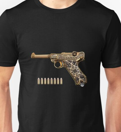Krieghoff Presentation P.08 Luger with Ammo over Black Velvet Unisex T-Shirt