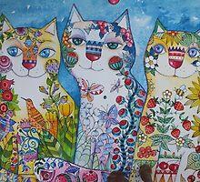 3 happy cats by oxana zaika