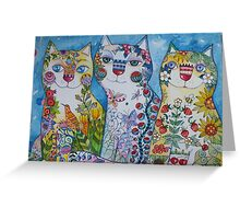3 happy cats Greeting Card