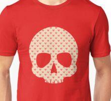 Head Skull Hearts Pattern Funny Valentine Gift Design Unisex T-Shirt