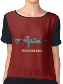 Colt M4A1 SOPMOD Carbine with 5.56 NATO Rounds on Red Velvet  Chiffon Top