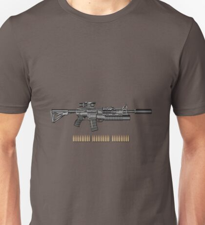 Colt M4A1 SOPMOD Carbine with 5.56×45mm NATO Rounds on Gray Polyurethane Foam Unisex T-Shirt