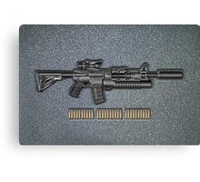 Colt M4A1 SOPMOD Carbine with 5.56×45mm NATO Rounds on Gray Polyurethane Foam Canvas Print
