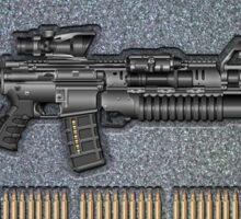 Colt M4A1 SOPMOD Carbine with 5.56×45mm NATO Rounds on Gray Polyurethane Foam Sticker