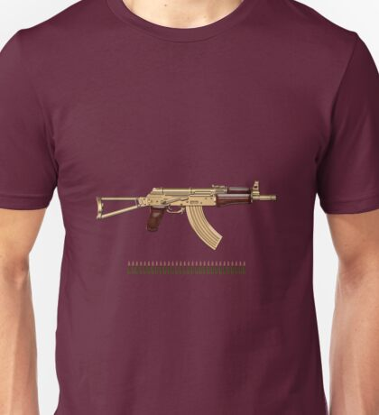 Gold AKS-74U Assault Rifle with 5.45x39 Rounds over Red Velvet   Unisex T-Shirt