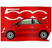 New Fiat 500 red Poster