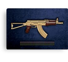 Gold AKS-74U Assault Rifle with 5.45x39 Rounds over Blue Velvet Canvas Print