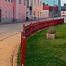Fancy fence and little village houses | architectural photography by Patrick Jobst
