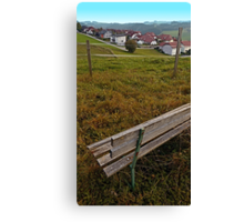 Bench with a village view | landscape photography Canvas Print