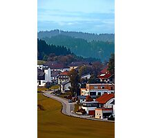 Autumn season village panorama | landscape photography Photographic Print