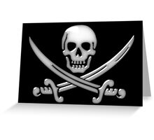 Glassy Pirate Skull & Sword Crossbones  Greeting Card