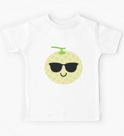 Melon Emoji Cool Sunglasses Kids Tee