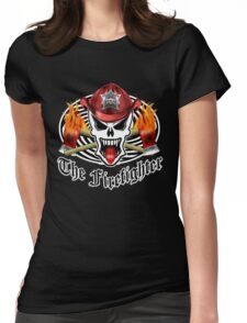Fire Fighter Skull 2.3 Womens Fitted T-Shirt