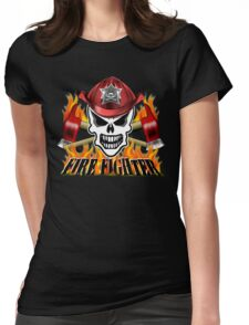 Fire Fighter Skull 2 Womens Fitted T-Shirt