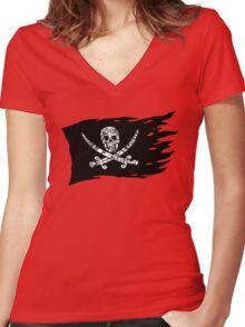 Digital Pirate Jolly Roger Women's Fitted V-Neck T-Shirt