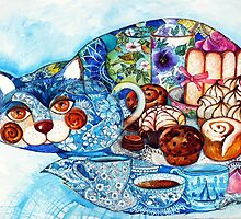 Earl Grey tea cat by oxana zaika
