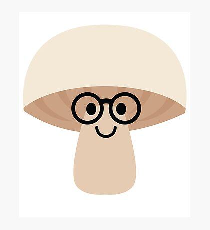 Button Mushroom Emoji Nerd Noob Glasses Photographic Print