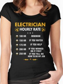 Funny Electrician Shirts - Electrician Hourly Rate Shirt Women's Fitted Scoop T-Shirt