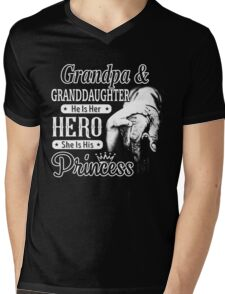 Grandpa And Granddaughter - He Is Her Hero She Is His Princess Mens V-Neck T-Shirt