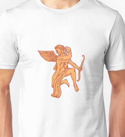 Cupid Bow Drawing Arrow Mono Line Unisex T-Shirt