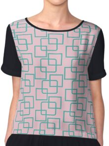 Crazy Squares Pink + Green Chiffon Top