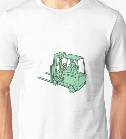 Forklift Truck Operator Mono Line Unisex T-Shirt