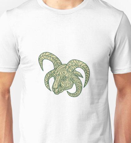 Manx Loaghtan Sheep Head Mono Line Unisex T-Shirt