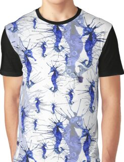 Blue seahorses pattern Graphic T-Shirt