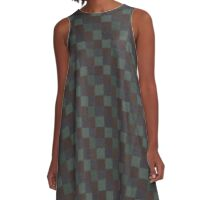 Rustic Blue Brown and Green Patchwork A-Line Dress